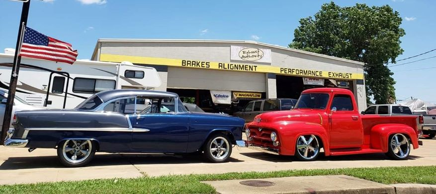 Classic cars in Exhaust Authority drive